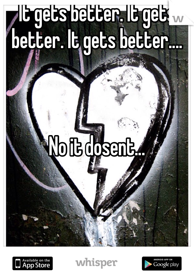 It gets better. It gets better. It gets better....    No it dosent...