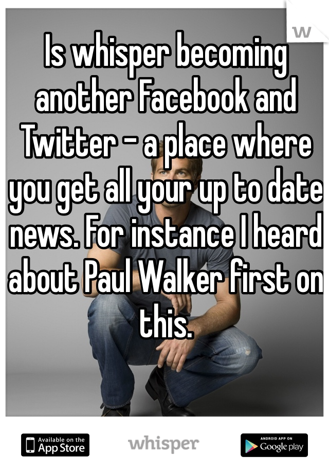 Is whisper becoming another Facebook and Twitter - a place where you get all your up to date news. For instance I heard about Paul Walker first on this.