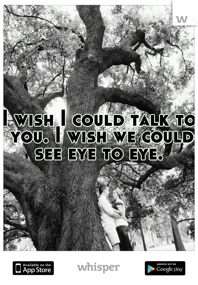 I wish I could talk to you. I wish we could see eye to eye.