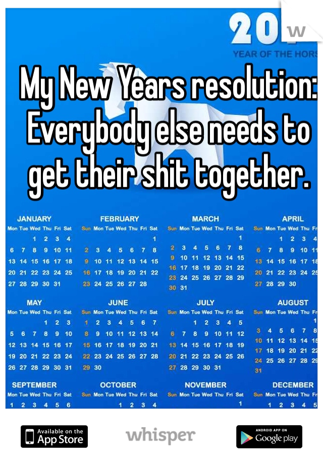 My New Years resolution: Everybody else needs to get their shit together.