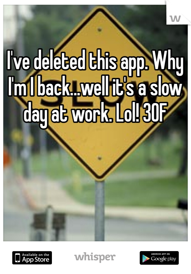 I've deleted this app. Why I'm I back...well it's a slow day at work. Lol! 30F