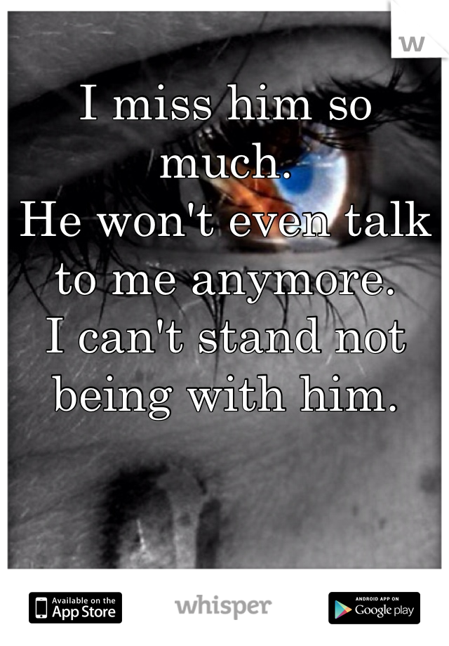 I miss him so much.  He won't even talk to me anymore.  I can't stand not being with him.