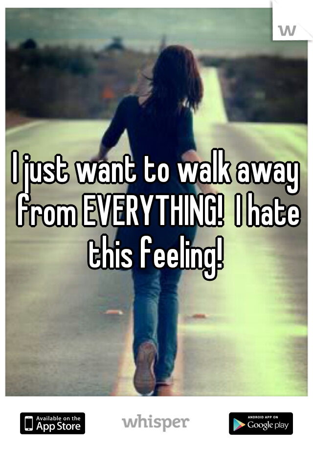 I just want to walk away from EVERYTHING!  I hate this feeling!