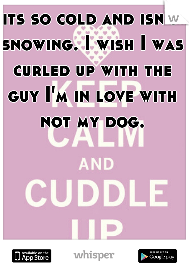 its so cold and isn't snowing. I wish I was curled up with the guy I'm in love with not my dog.