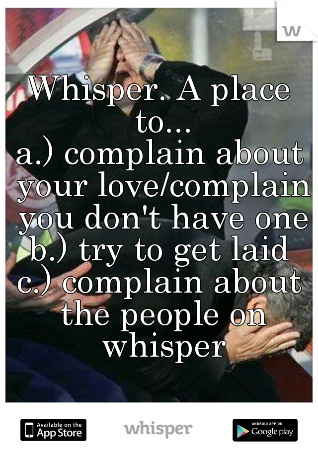 Whisper. A place to... a.) complain about your love/complain you don't have one b.) try to get laid c.) complain about the people on whisper