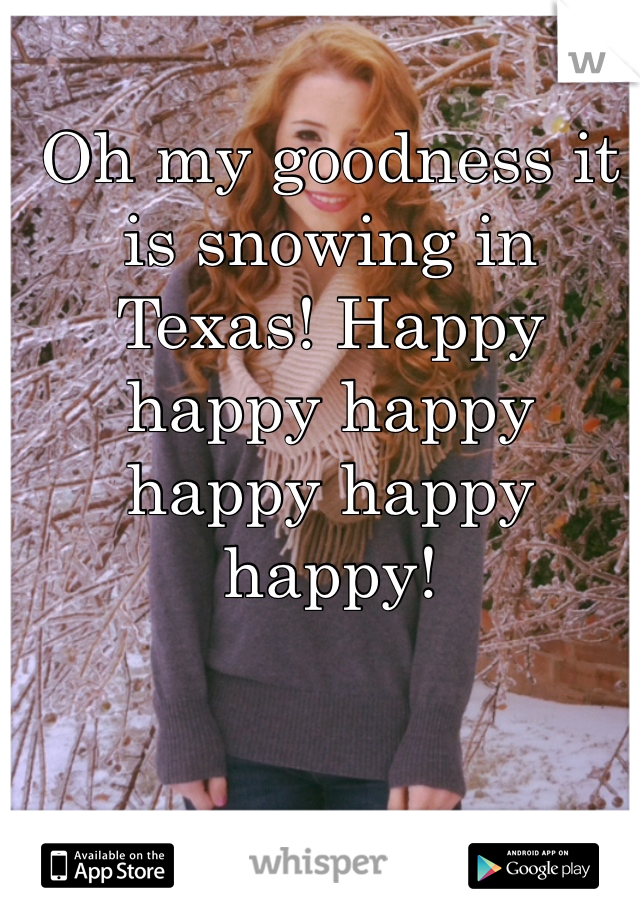 Oh my goodness it is snowing in Texas! Happy happy happy happy happy happy!