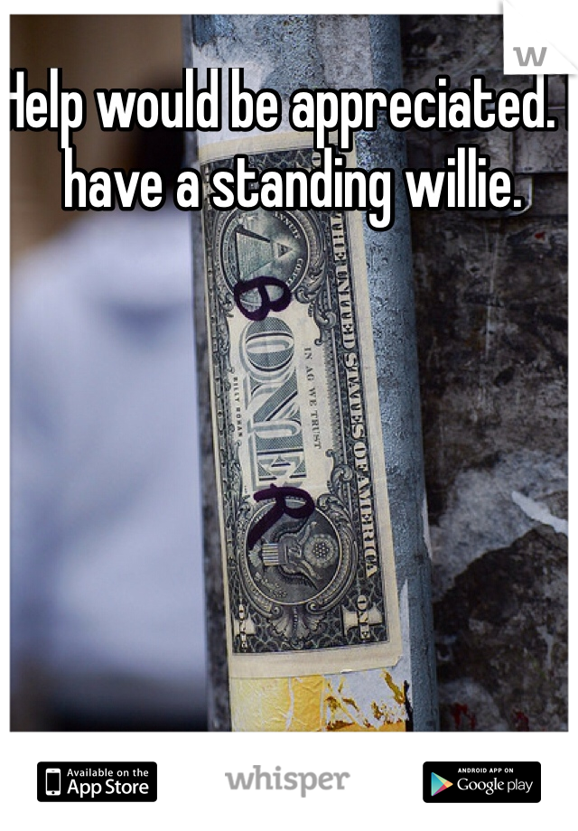 Help would be appreciated. I have a standing willie.