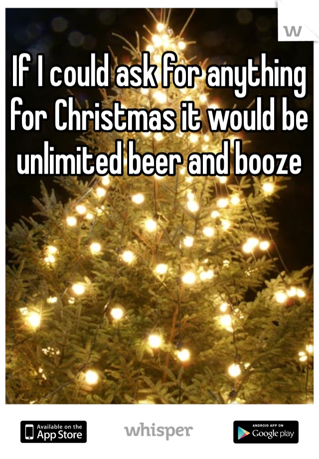 If I could ask for anything for Christmas it would be unlimited beer and booze