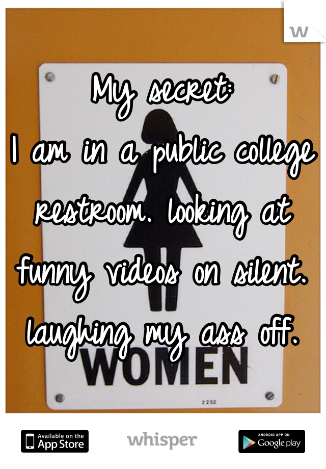 My secret: I am in a public college restroom. looking at funny videos on silent. laughing my ass off.