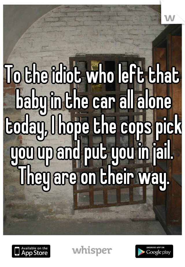 To the idiot who left that baby in the car all alone today, I hope the cops pick you up and put you in jail.  They are on their way.