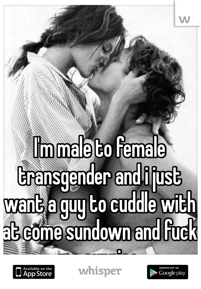 I'm male to female transgender and i just want a guy to cuddle with at come sundown and fuck me sunrise.