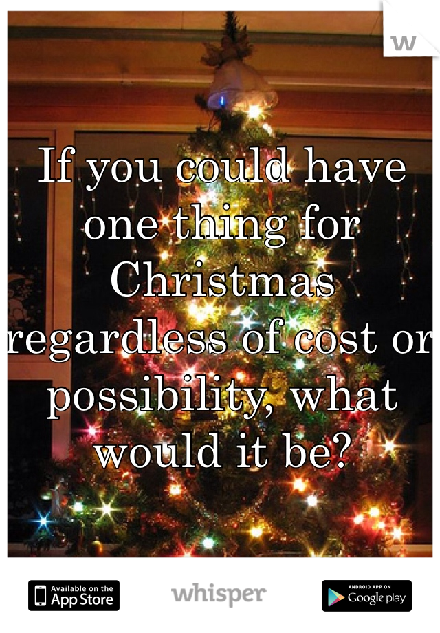 If you could have one thing for Christmas regardless of cost or possibility, what would it be?