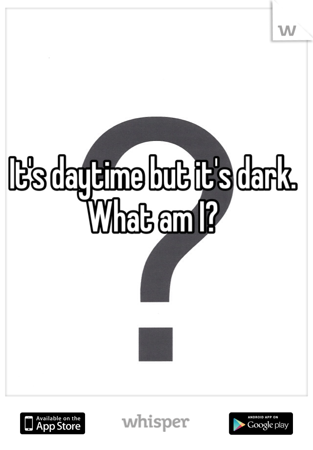 It's daytime but it's dark. What am I?