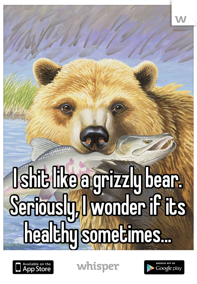 I shit like a grizzly bear. Seriously, I wonder if its healthy sometimes...
