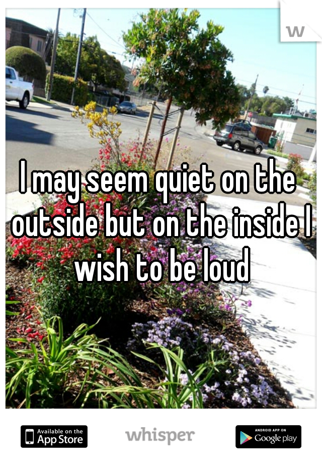 I may seem quiet on the outside but on the inside I wish to be loud