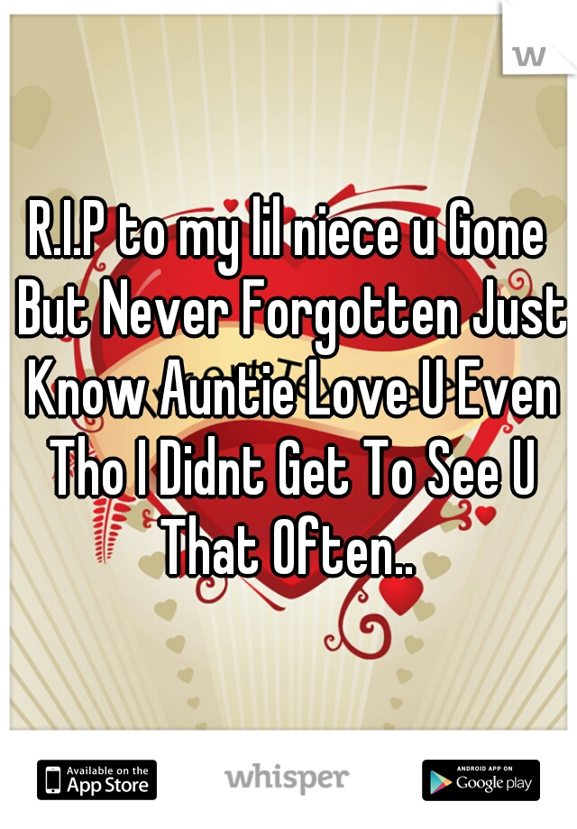 R.I.P to my lil niece u Gone But Never Forgotten Just Know Auntie Love U Even Tho I Didnt Get To See U That Often..