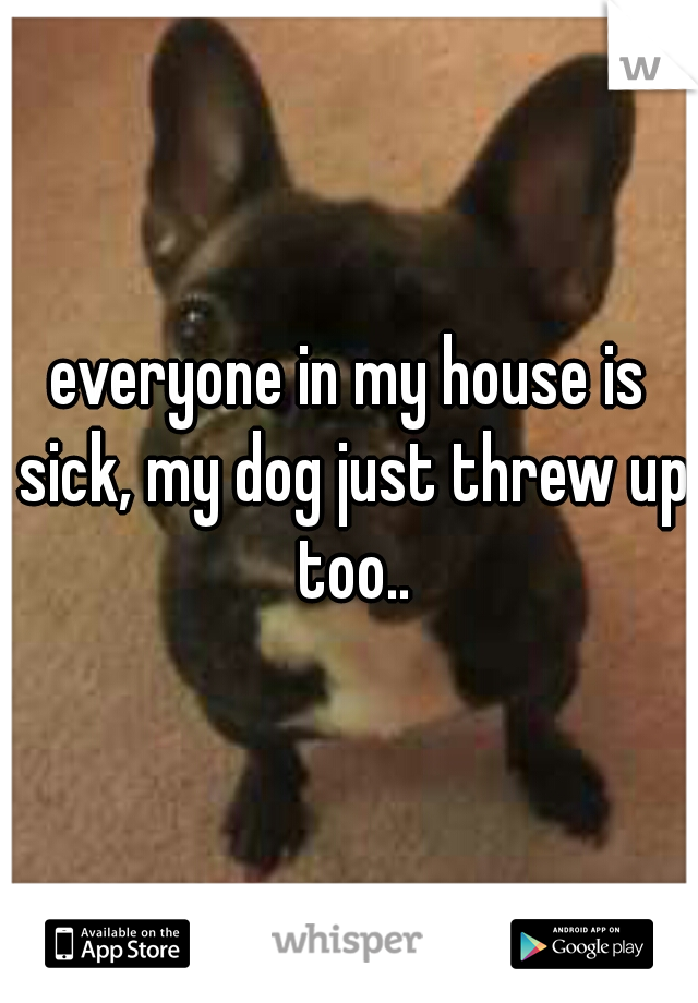 everyone in my house is sick, my dog just threw up too..