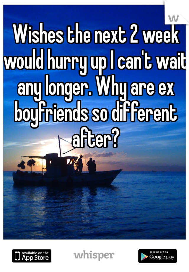 Wishes the next 2 week would hurry up I can't wait any longer. Why are ex boyfriends so different after?