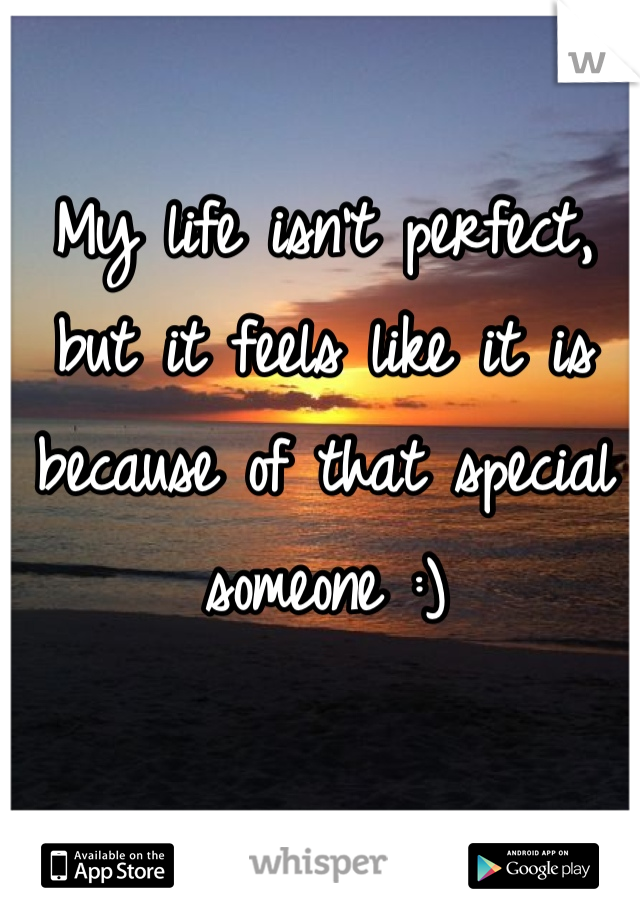 My life isn't perfect, but it feels like it is because of that special someone :)