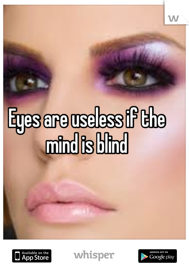 Eyes are useless if the mind is blind