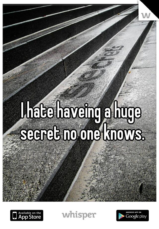 I hate haveing a huge secret no one knows.