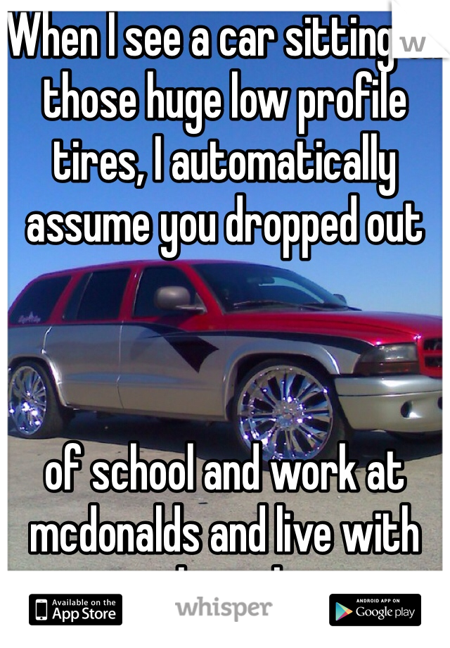 When I see a car sitting on those huge low profile tires, I automatically assume you dropped out     of school and work at mcdonalds and live with your crack smoking mom.