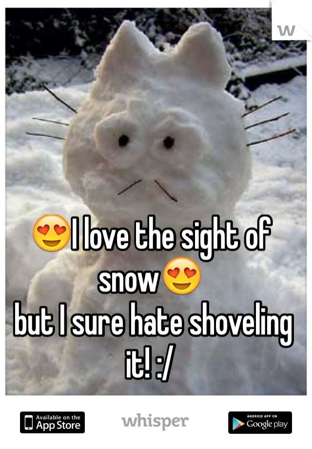 😍I love the sight of snow😍  but I sure hate shoveling it! :/