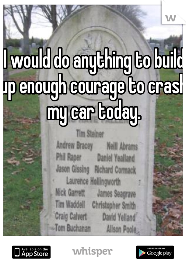 I would do anything to build up enough courage to crash my car today.