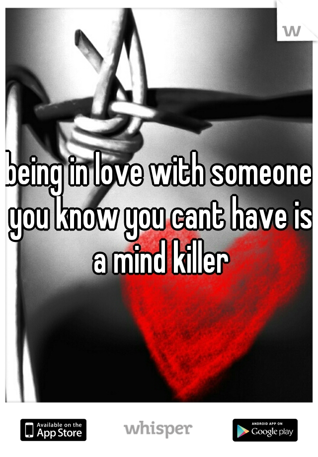 being in love with someone you know you cant have is a mind killer