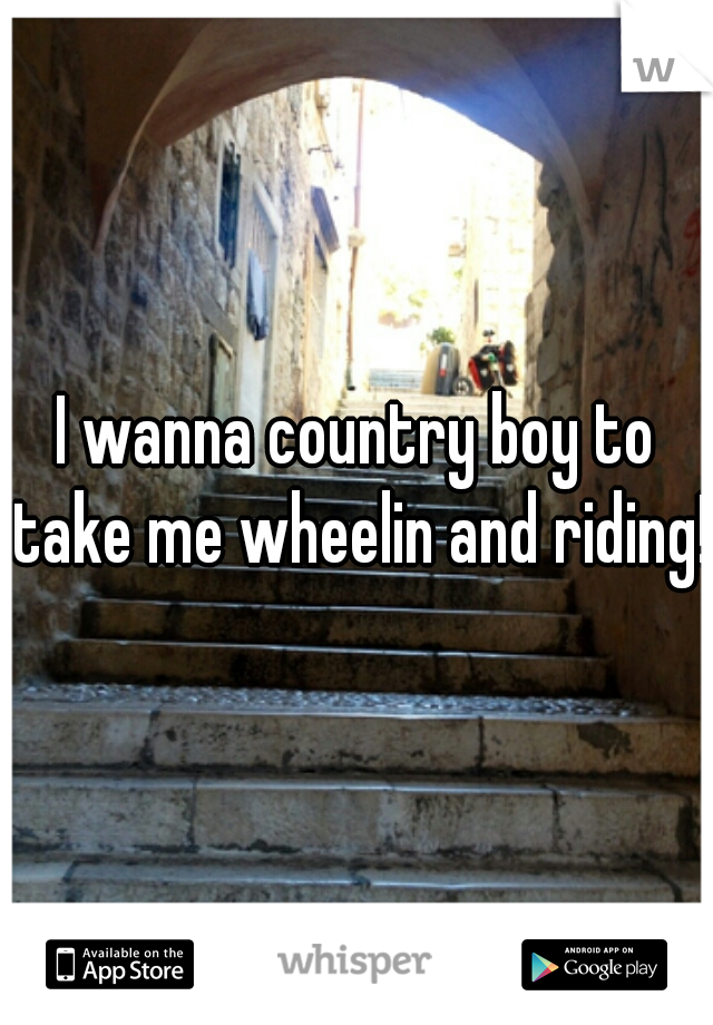 I wanna country boy to take me wheelin and riding!