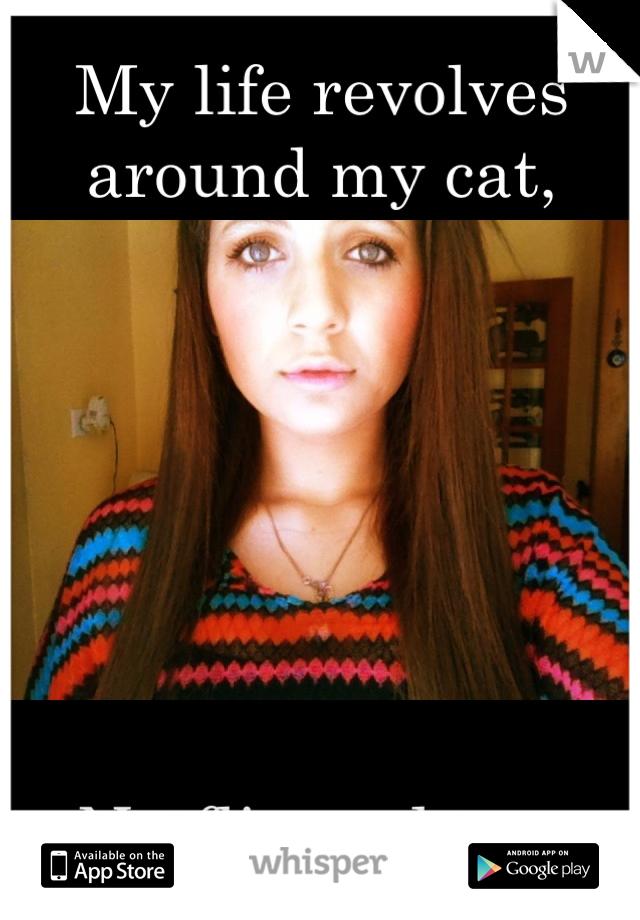 My life revolves around my cat,         Netflix and tea.