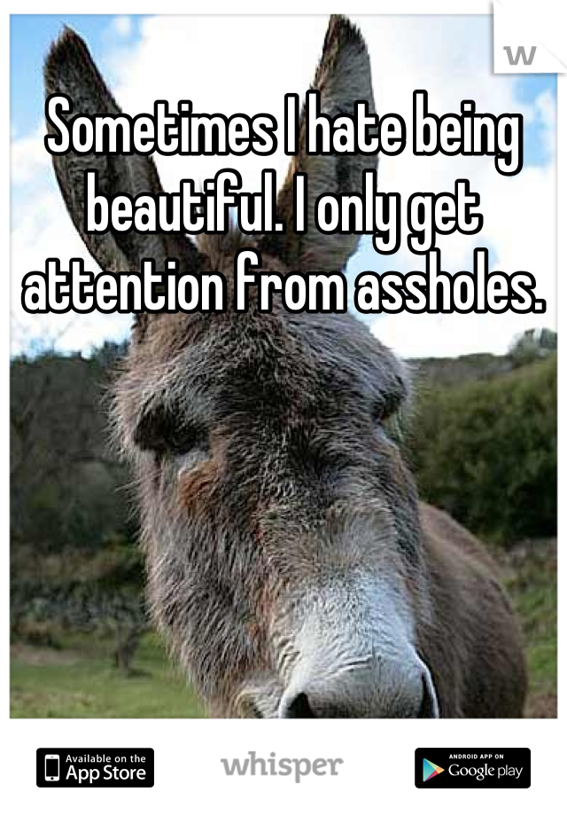 Sometimes I hate being beautiful. I only get attention from assholes.