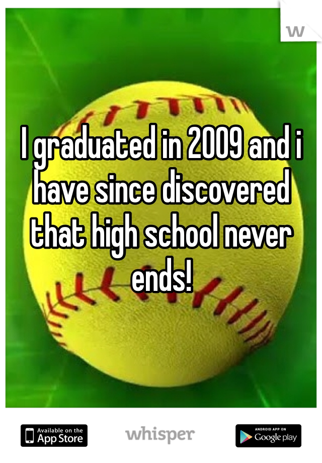 I graduated in 2009 and i have since discovered that high school never ends!