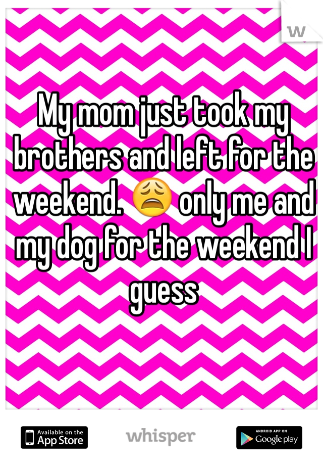 My mom just took my brothers and left for the weekend. 😩 only me and my dog for the weekend I guess