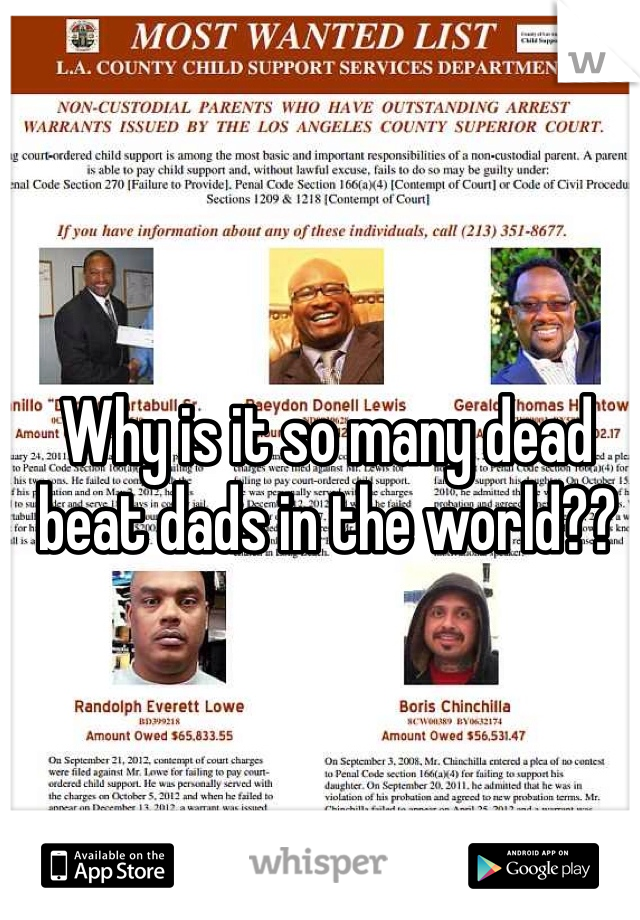 Why is it so many dead beat dads in the world??