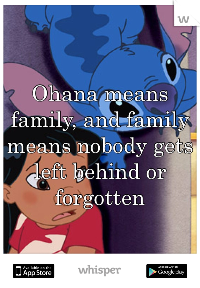 Ohana means family, and family means nobody gets left behind or forgotten