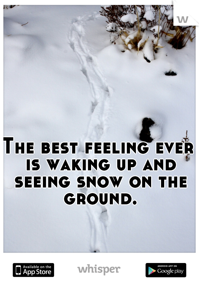 The best feeling ever is waking up and seeing snow on the ground.