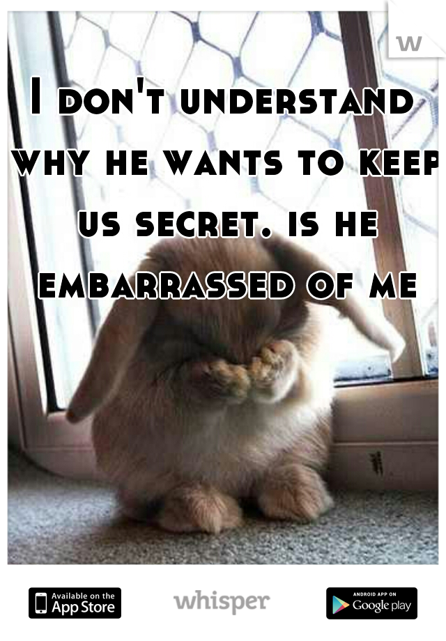 I don't understand why he wants to keep us secret. is he embarrassed of me