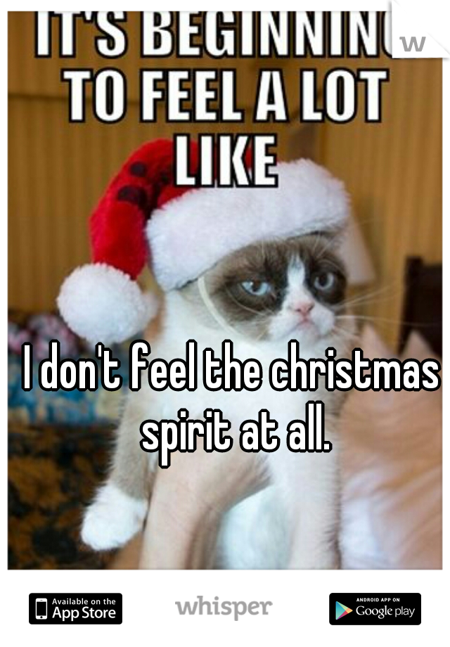 I don't feel the christmas spirit at all.
