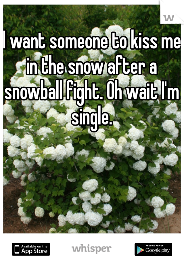 I want someone to kiss me in the snow after a snowball fight. Oh wait I'm single.