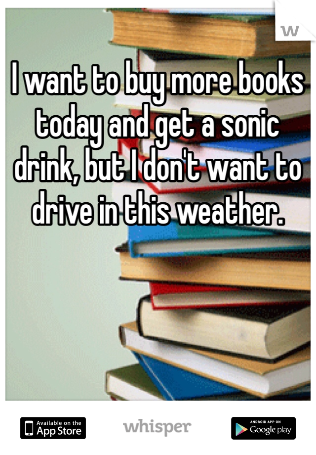 I want to buy more books today and get a sonic drink, but I don't want to drive in this weather.