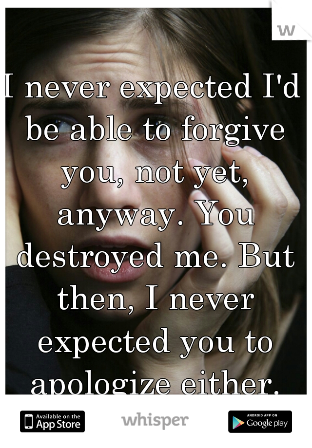 I never expected I'd be able to forgive you, not yet, anyway. You destroyed me. But then, I never expected you to apologize either.