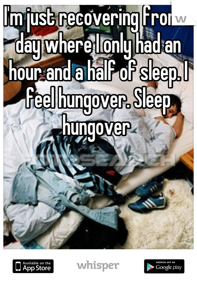 I'm just recovering from a day where I only had an hour and a half of sleep. I feel hungover. Sleep hungover