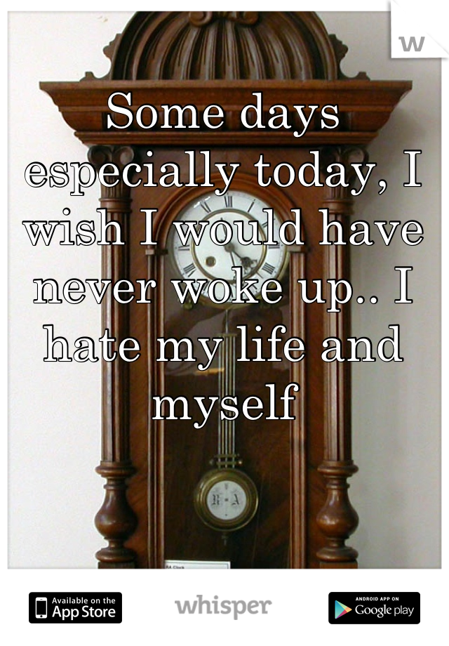 Some days especially today, I wish I would have never woke up.. I hate my life and myself