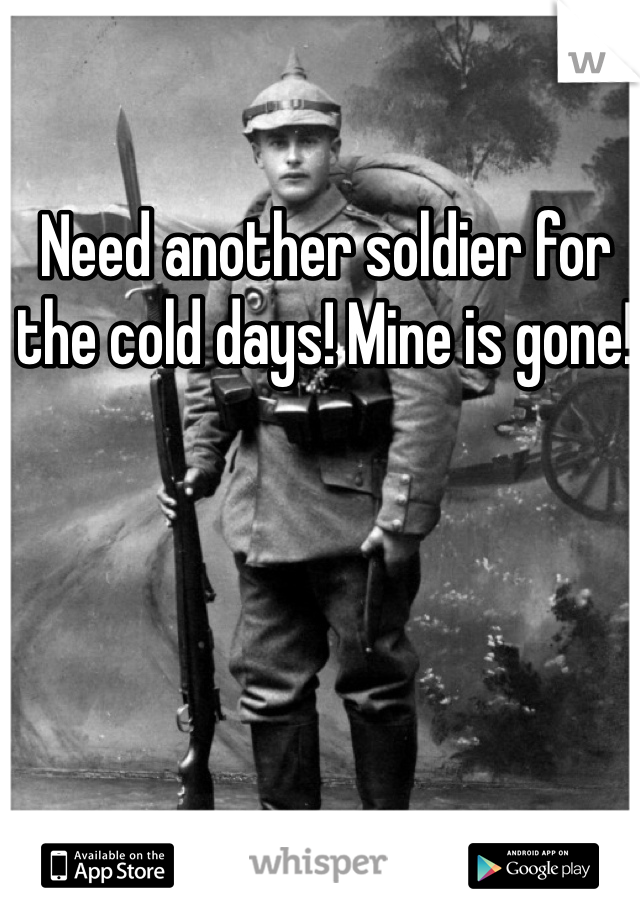 Need another soldier for the cold days! Mine is gone!