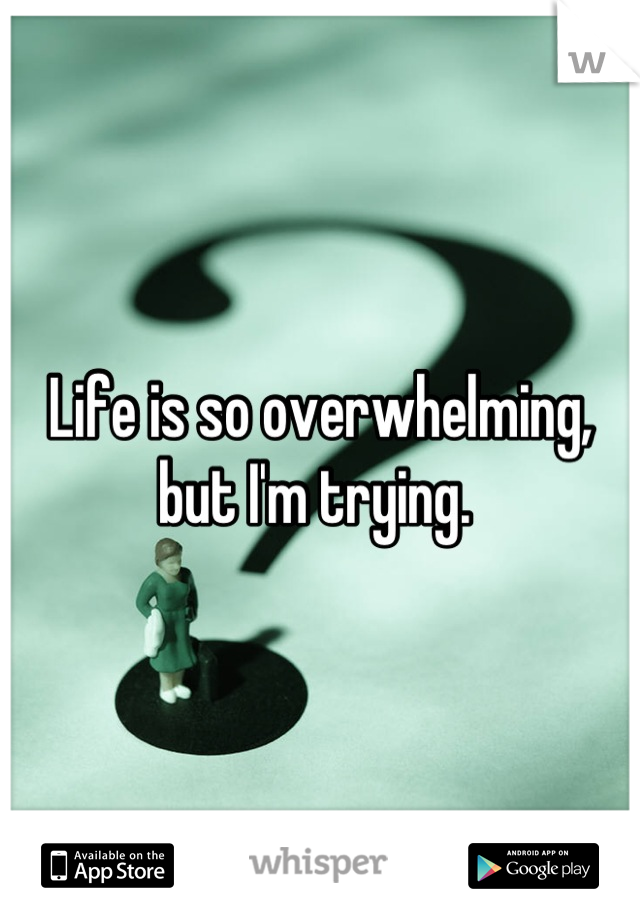 Life is so overwhelming, but I'm trying.