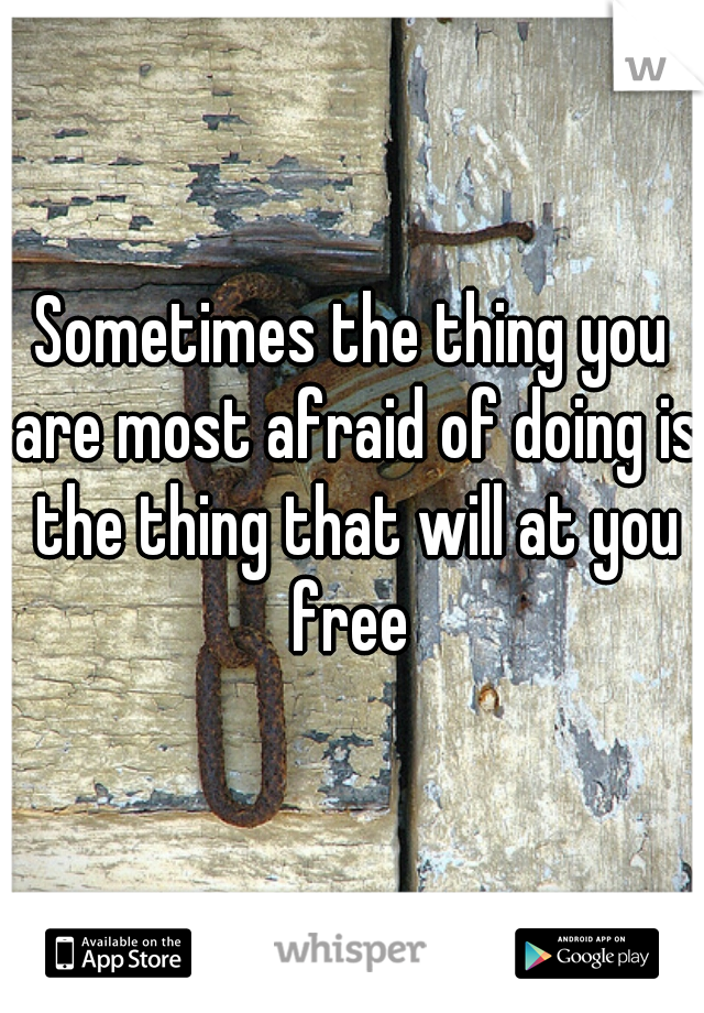 Sometimes the thing you are most afraid of doing is the thing that will at you free