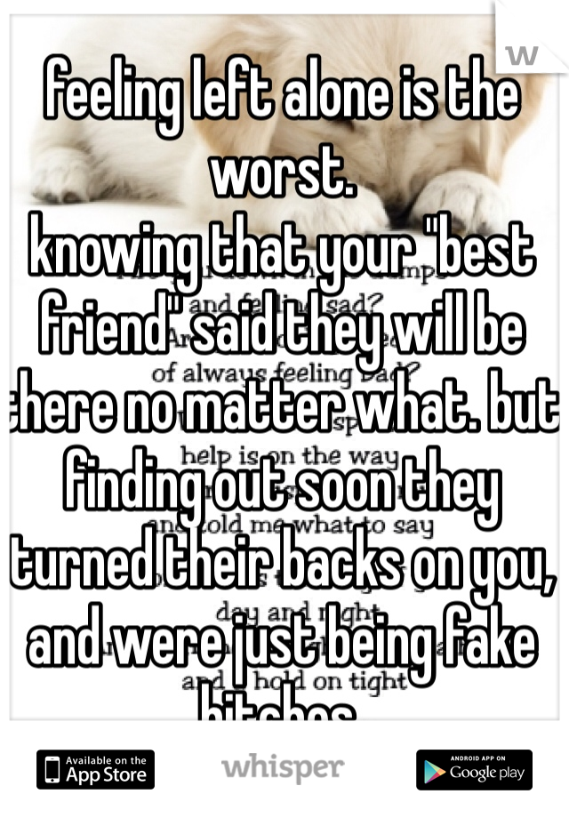 """feeling left alone is the worst.  knowing that your """"best friend"""" said they will be there no matter what. but finding out soon they turned their backs on you, and were just being fake bitches."""