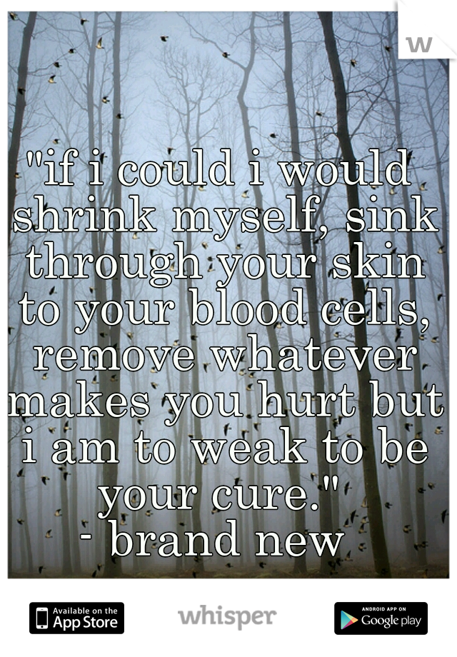"""""""if i could i would shrink myself, sink through your skin to your blood cells, remove whatever makes you hurt but i am to weak to be your cure.""""  - brand new"""