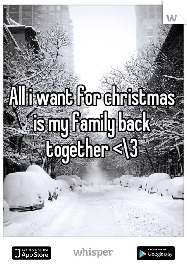 All i want for christmas is my family back together <\3